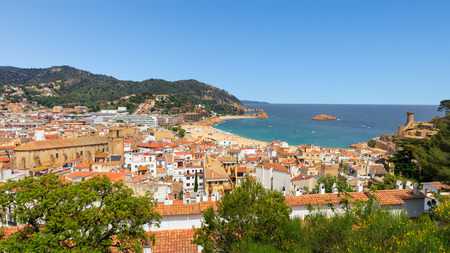 View on the beach town Tossa de Mar on the Costa Brava beach, Spain Stock Photo