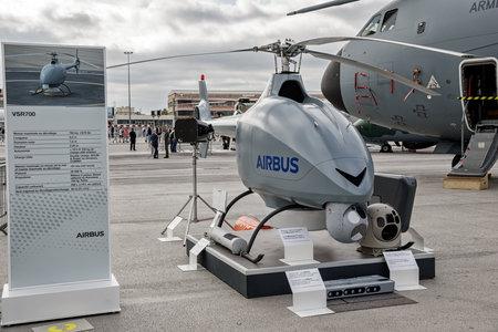 PARIS, FRANCE - JUN 23, 2017: VSR700 autonomous helicopter drone at the Paris Air Show 2017. Redakční