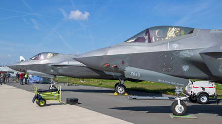 BERLIN, GERMANY - APR 27, 2018: US Air Force Lockheed Martin F-35 Lightning II fighter jets on display at the Berlin ILA Air Show.