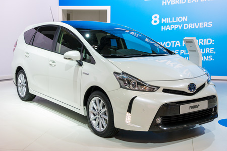 BRUSSELS - JAN 12, 2016: Toyota Prius Plus hybrid car showcased at the Brussels Motor Show.