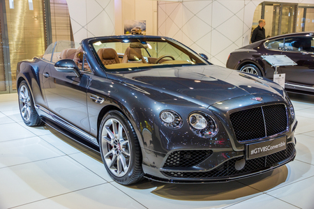 BRUSSELS - JAN 12, 2016: Bentley GT V8S Convertible car showcased at the Brussels Motor Show. Editorial