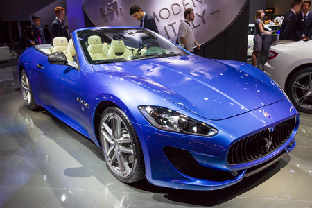 FRANKFURT, GERMANY - SEP 16, 2015: Maserati GranTurismo MC Centennial Edition Coupe sports car at the IAA 2015.