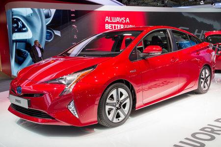 FRANKFURT, GERMANY - SEP 16, 2015: World premiere of the new Toyota Prius Hybrid car at the Frankfurt IAA Motor Show. Editorial