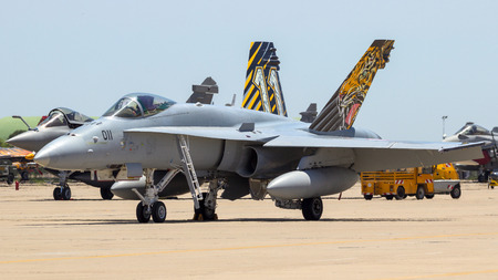ZARAGOZA, SPAIN - MAY 20, 2016: Swiss Air Force McDonnell Douglas FA-18 Hornet fighter jet on the tarmac of Zaragoza airbase.