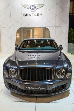 BRUSSELS - JAN 12, 2016: Bentley Mulsanne Speed luxury car showcased at the Brussels Motor Show.