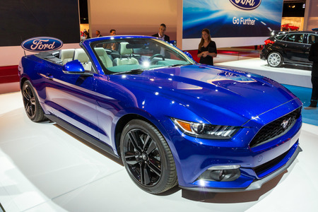 AMSTERDAM - APRIL 16, 2015: Ford Mustang sports car showcased at the AutoRAI Motor Show.
