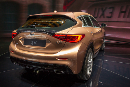 FRANKFURT, GERMANY - SEP 16, 2015: Infiniti Q30 premium crossover car debut at the Frankfurt IAA Motor Show.
