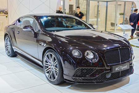 BRUSSELS - JAN 12, 2016: Bentley Continental GT Speed car showcased at the Brussels Motor Show. Editorial