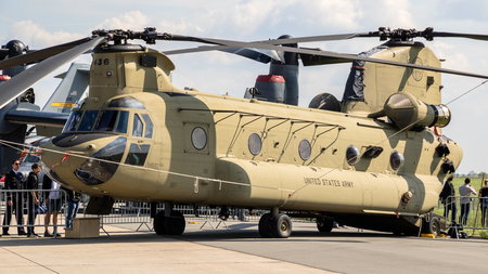 BERLIN, GERMANY - APR 27, 2018: US Army Boeing CH-47F Chinook helicopter on display at the Berlin ILA Air Show.