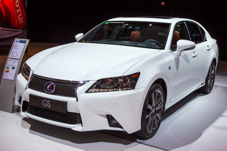 AMSTERDAM - APRIL 16, 2015: Lexus GS car showcased at the AutoRAI Motor Show. Sajtókép