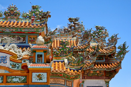 Close up of a colourful decorated pagoda in Vietnam.