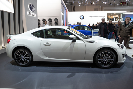 BRUSSELS - JAN 19, 2017: Subaru BRZ car on display at the Motor Show Brussels.