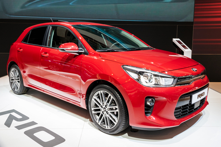 BRUSSELS - JAN 19, 2017: New Kia Rio car on display at the Motor Show Brussels. Editorial
