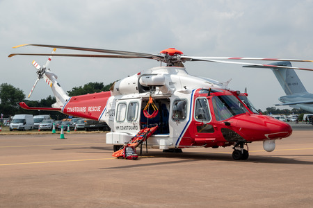 FAIRFORD, UK - JUL 13, 2018: AgustaWestland AW189 coastguard rescue helicopter from Bristow Helicopters on the tarmac of Fairford airbase. Editorial