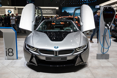 GENEVA, SWITZERLAND - MARCH 6, 2018: Front view of a BMW i8 Coupe electric sports car showcased at the 88th Geneva International Motor Show.