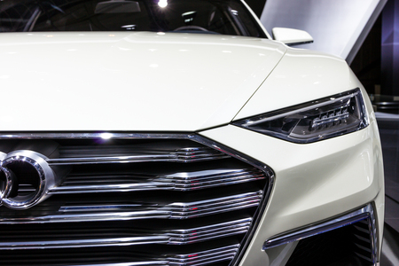 BRUSSELS - JAN 12, 2016: Close up of an Audi Prologue Allroad concept luxury coupe and estate car at the Brussels Motor Show.