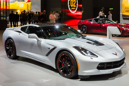 GENEVA, SWITZERLAND - MARCH 2, 2016: Chevrolet Corvette sports car showcased at the 86th Geneva International Motor Show.