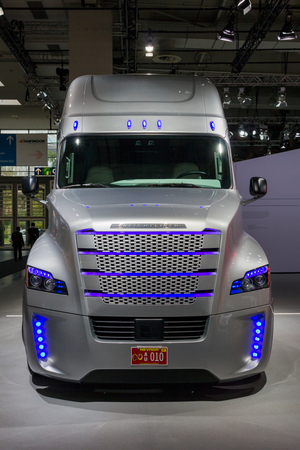 HANNOVER, GERNANY - SEP 21, 2016: Freightliner Inspiration Truck (autonomous commercial truck) at the International Motor Show for Commercial Vehicles. Editorial