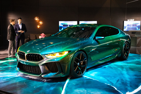 GENEVA, SWITZERLAND - MARCH 7, 2018: New BMW M8 Gran Coupe sports car showcased at the 88th Geneva International Motor Show. 報道画像