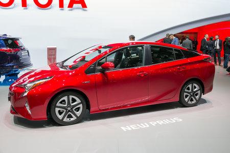 GENEVA, SWITZERLAND - MARCH 1, 2016: New Toyota Prius car showcased at the 86th Geneva International Motor Show. Editorial