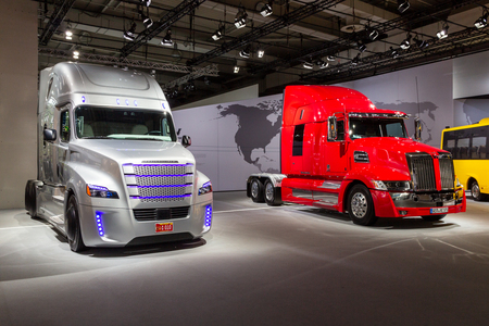 HANNOVER, GERNANY - SEP 21, 2016: Western Star 5700 and Freightliner Inspiration Truck (autonomous commercial truck) at the International Motor Show for Commercial Vehicles. Editorial
