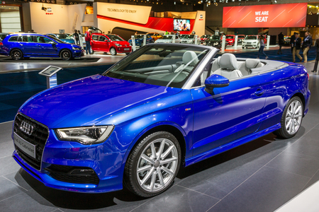 BRUSSELS - JAN 12, 2016: Audi A3 cabrio car showcased at the Brussels Motor Show.