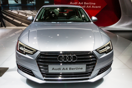 BRUSSELS - JAN 12, 2016: Audi A4 Berline car showcased at the Brussels Motor Show.