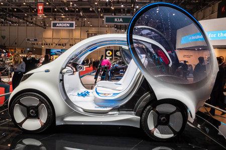 GENEVA, SWITZERLAND - MARCH 6, 2018: Smart Vision EQ ForTwo self-driving city car showcased at the 88th Geneva International Motor Show.