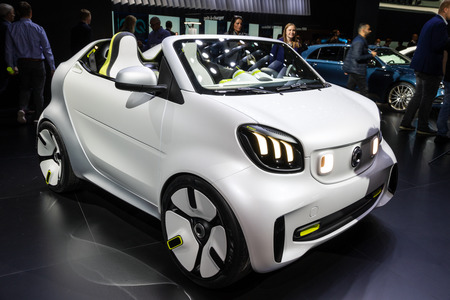 PARIS - OCT 2, 2018: Smart Forease all electric compact car debut at the Paris Motor Show.