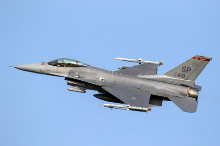 SPANGDAHLEM, GERMANY - 29 AUG, 2018: US Air Force F-16C fighter jet plane from 480th Fighter Squadron taking off from Spangdahlem Air Base. Editorial