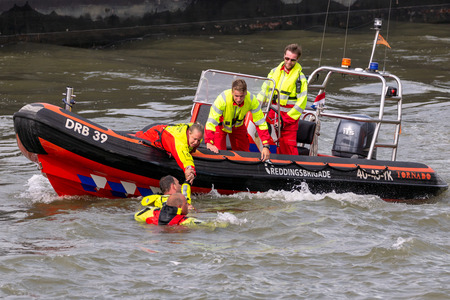 ROTTERDAM, NETHERLANDS - SEP 3, 2016: Search And Rescue demonstration during the World Harbor Days.