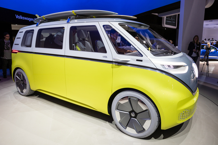FRANKFURT, GERMANY - SEP 13, 2017: Volkswagen I.D. Buzz electric self-driving camper van showcased at the Frankfurt IAA Motor Show. Editorial