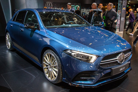 PARIS - OCT 3, 2018: Mercedes-AMG A 35 4MATIC hatchback car unveiled at the Paris Motor Show.