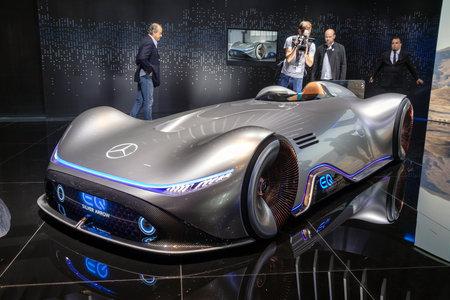 PARIS - OCT 2, 2018: Mercedes Benz Concept EQ Silver Arrow Electric Intelligence car showcased at the Paris Motor Show. Editorial