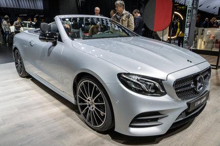 PARIS - OCT 2, 2018: Mercedes Benz E300 Cabriolet car showcased at the Paris Motor Show.