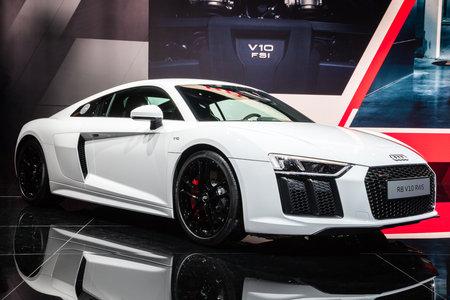 FRANKFURT, GERMANY - SEP 12, 2017: New Audi R8 V10 RWS sports car showcased at the Frankfurt IAA Motor Show. The car is a limited edition rear-wheel drive sports car. Editorial
