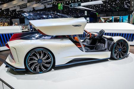 GENEVA, SWITZERLAND - MARCH 6, 2018: Techrules Ren turbine-powered supercar showcased at the 88th Geneva International Motor Show. Editorial