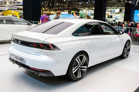 PARIS - OCT 2, 2018: Peugeot 508 Hybrid car showcased at the Paris Motor Show.