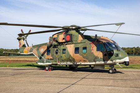 KLEINE BROGEL, BELGIUM - SEP 8, 2018: Portuguese Air Force AgustaWestland AW101 helicopter on the tarmac of Kleine-Brogel Airbase.