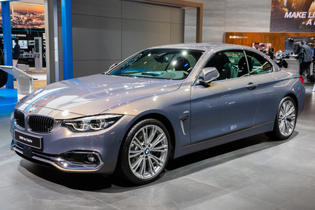 FRANKFURT, GERMANY - SEP 13, 2017: BMW 4er Cabrio car showcased at the Frankfurt IAA Motor Show.