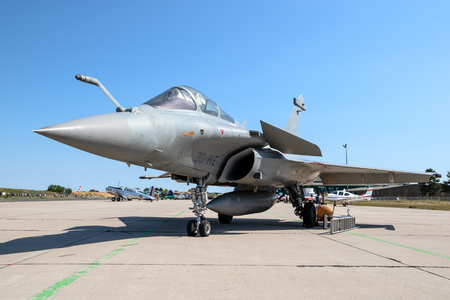 NANCY, FRANCE - JUL 1, 2018: French Air Force Dassault Rafale fighter jet on the tarmac of Nancy Airbase. Editorial