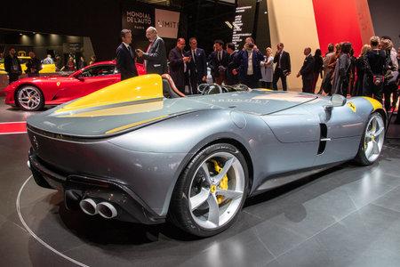 PARIS - OCT 2, 2018: Ferrari Monza SP1 sports car presented at the Paris Motor Show.