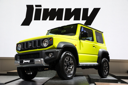 PARIS - OCT 2, 2018: New Suzuki Jimmy compact 4x4 car showcased at the Paris Motor Show.