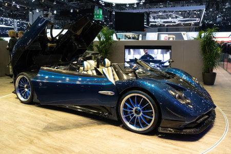 GENEVA, SWITZERLAND - MARCH 6, 2018: Pagani Zonda HP Barchetta sports car showcased at the 88th Geneva International Motor Show.