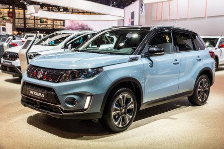 PARIS - OCT 2, 2018: New Suzuki Vitara SUV car showcased at the Paris Motor Show.