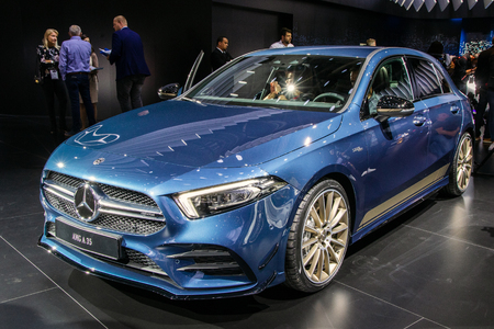 PARIS - OCT 2, 2018: Mercedes-AMG A 35 4MATIC hatchback car unveiled at the Paris Motor Show.