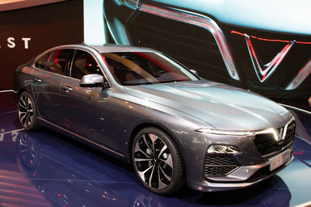 PARIS - OCT 3, 2018: VinFast Lux A2.0 sedan car showcased at the Paris Motor Show.