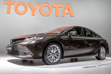 PARIS - OCT 3, 2018: New Toyota Camry Hybrid car unveiled at the Paris Motor Show.