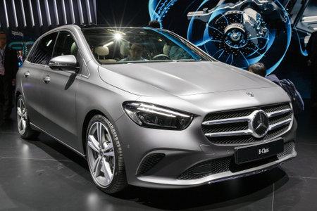 PARIS - OCT 2, 2018: New 2019 Mercedes Benz B-Class car showcased at the Paris Motor Show.