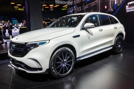 PARIS - OCT 2, 2018: Mercedes EQC 400 4MATIC electric SUV car showcased at the Paris Motor Show. Editorial